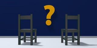 Deux chaises et symboles de point d'interrogation Image stock