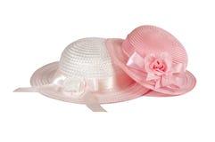 Deux chapeaux de Pâques de l'enfant dans le rose image stock
