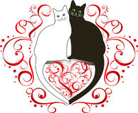 Deux chats dans l'amour illustration libre de droits