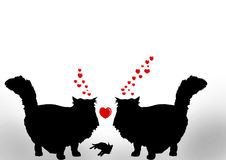Deux chats dans l'amour avec le bébé mignon illustration stock