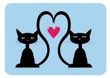 Deux chats noirs dans l'amour images stock
