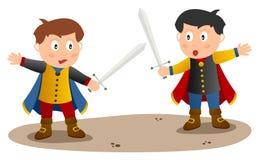 Deux chevaliers avec l'épée Photographie stock