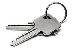 Deux clés d'appartement avec la boucle Image libre de droits