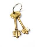 Deux clés d'isolement d'or Image stock