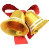 Deux cloches de Noël avec l'arc rouge Images libres de droits