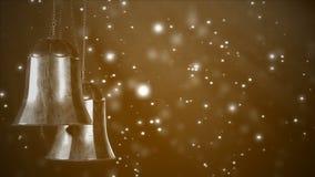 Deux cloches de Noël d'or tournantes avec le fond de bokeh de scintillement Boucle sans couture 3d rendent banque de vidéos