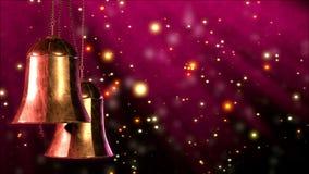 Deux cloches de Noël tournantes avec le fond de bokeh de scintillement Boucle sans couture 3d rendent clips vidéos