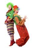 Deux clowns sont de nouveau au dos Photos libres de droits