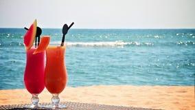Deux cocktails sur la plage banque de vidéos
