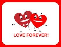 Deux coeurs, amour pour toujours, plats illustration stock