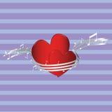 Deux coeurs avec des notes Photo stock