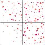 Deux coeurs Célébration de confettis La décoration abstraite rose en baisse pour la partie, anniversaire célèbrent, anniversaire  illustration de vecteur