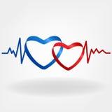 Deux coeurs Conception de battement de coeur Images libres de droits