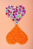 Deux coeurs décoratifs d'amour Image libre de droits