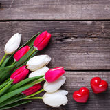 Deux coeurs décoratifs rouges et tulipes lumineuses de ressort fleurit Photo libre de droits