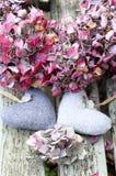 Deux coeurs d'amour avec pâle sec - guirlande rose de hyrdragea Images libres de droits