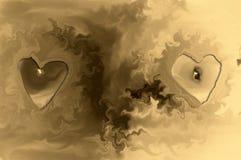 Deux coeurs 3D de bougie Photographie stock