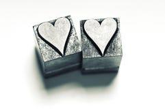 Deux coeurs d'impression typographique Photo stock