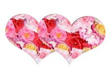 Deux coeurs d'isolement sur un fond floral blanc Photographie stock libre de droits