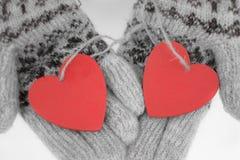 Deux coeurs dans des mains dans les gants avec un modèle Image stock