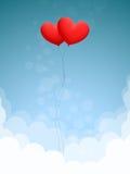 Deux coeurs dans le ciel Photographie stock