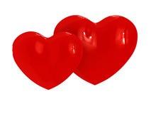 Deux coeurs de caramel Photos libres de droits