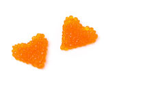 Deux coeurs de caviar rouge, d'isolement Photographie stock libre de droits