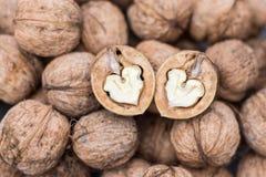 Deux coeurs de noix Photo libre de droits
