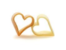 Deux coeurs de pâtes Photographie stock