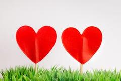 Deux coeurs de papier sur un bâton dans l'herbe Images libres de droits