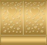 Deux coeurs de valentines d'or   illustration de vecteur