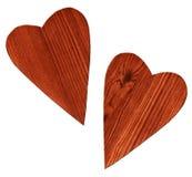 Deux coeurs en bois Photos stock