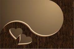 Deux coeurs en bois Photo stock