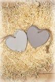 Deux coeurs en bois dans un nid d'amour Images stock