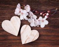 Deux coeurs en bois placés bien avec le flowe de fleurs de cerisier de ressort Photos stock
