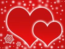 Deux coeurs et éclailles de neige Images libres de droits