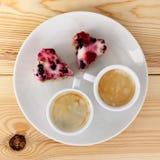 Deux coeurs et cafés deux est amour Image stock