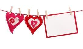 Deux coeurs et carte vierge Images stock