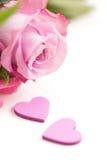 Deux coeurs et Rose Photo stock