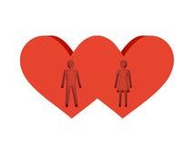 Deux coeurs. Figure de coupe-circuit de l'homme et de femme à l'intérieur. Photographie stock