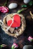 Deux coeurs liés ensemble sur le nid Photographie stock libre de droits