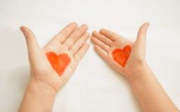 Deux coeurs peints Photo libre de droits