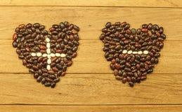 Deux coeurs plus et sans Images libres de droits