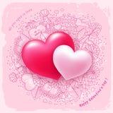 Deux coeurs pour le jour de valentines Photo stock