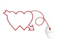 Deux coeurs représentés par le câble de souris d'ordinateur Photos libres de droits