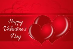 Deux coeurs romantiques de Valentine Photographie stock