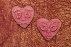 Deux coeurs roses Photos libres de droits