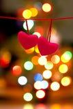 Deux coeurs roses d'amour du ` s de Valentine Photos libres de droits