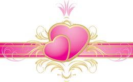 Deux coeurs roses sur la bande décorative illustration stock
