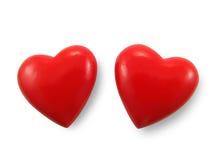 Deux coeurs rouges. Image stock